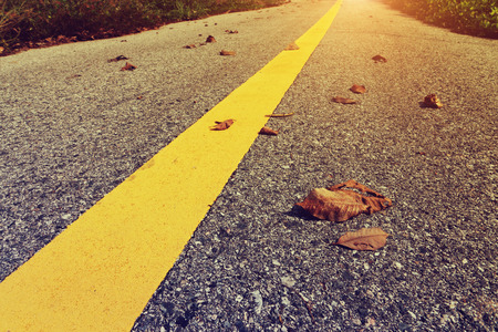 yellow traffic lines with dry leaf on the ground with light in vintage color.