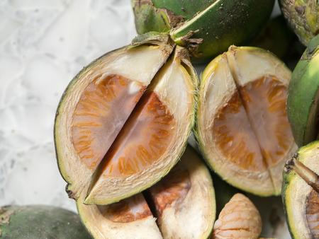 Close-up of Betel nut (Areca catechu) cut.