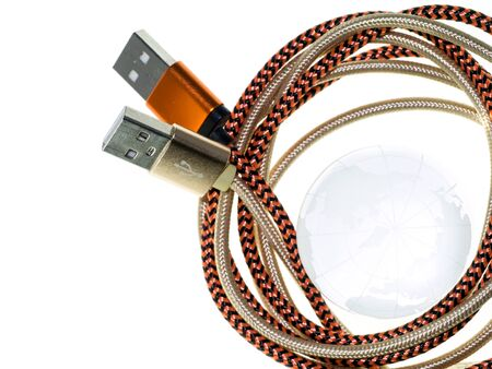 Maple World Map and USB cable. Stock Photo