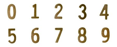 Wood number type on white background Stock Photo