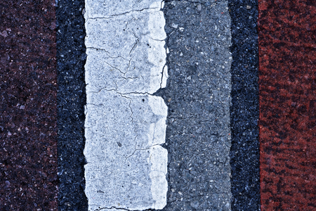 Abstract Old traffic lines on the road. Stock Photo