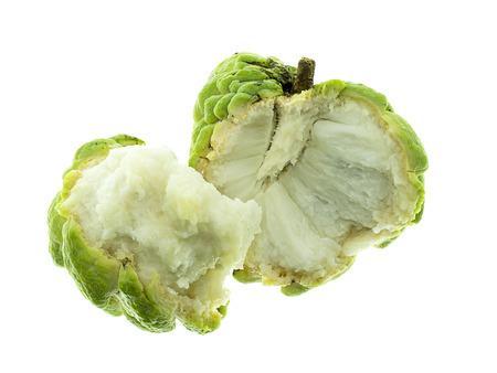 Close up ripe sugar apple fruit on white background.