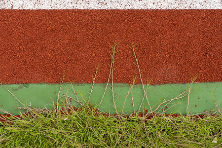Close up grass on the ground of treadmill in the stadium. Stock Photo