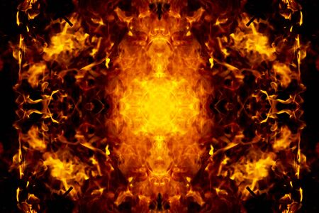 Abstract mirror of the flames in the dark background