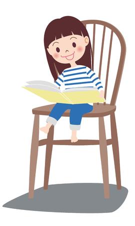 Girl reading book icon.