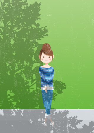 Three shadow shading a girl illustration. Illusztráció