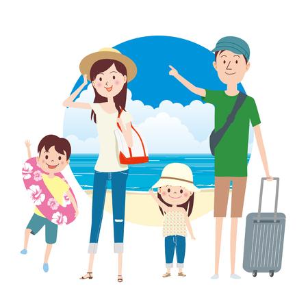 Summer family trip. Illusztráció