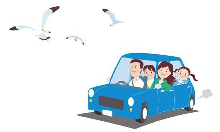 Pájaros volando y coche con familia ilustración vectorial.