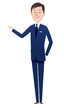 Man in business suit Vector illustration isolated on white background.