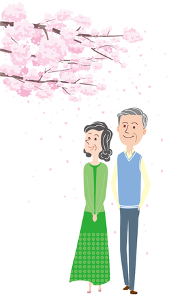 A couple on a cherry-blossom viewing, isolated on white background Çizim