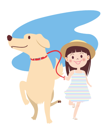 Girl bringing dog for a walk