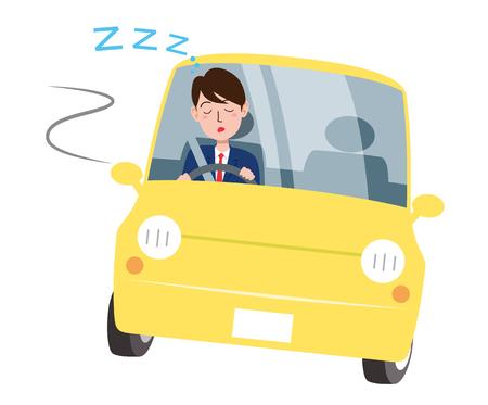 Conducir dormitando Ilustración de vector