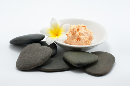 close up of body scrub treatment  and stone spa Stock Photo - 13884543