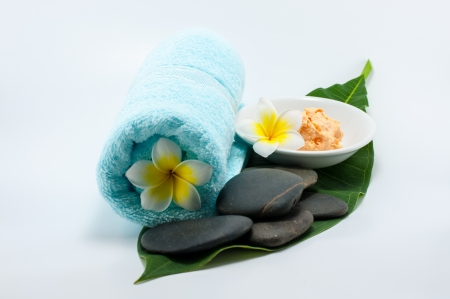 close up of body scrub treatment  and stone spa photo