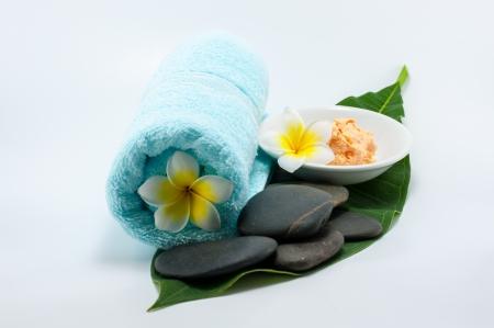 close up of body scrub treatment  and stone spa Stock Photo - 13884552