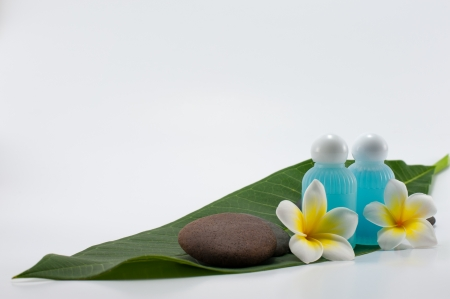 Close up of netural product using in oriental resort and spa photo