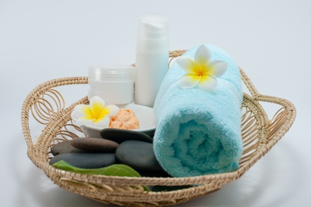 Close up set of oriental spa in the basket photo