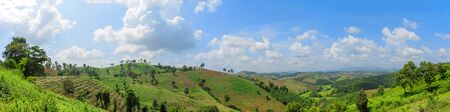 pano: Panoramic view of mountain range in northern thailand