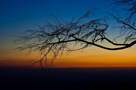 Sunset at Lomsak Cliff. National phuKradueng Loei Thailand Stock Photo