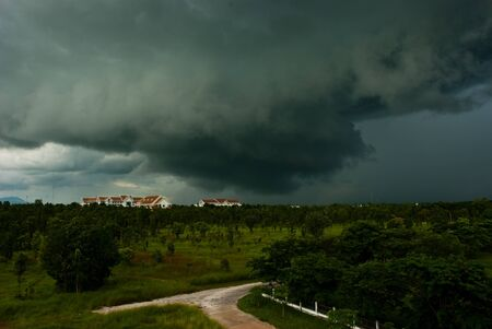 Storm is forming over the Government Center Kamphaeng Phet, Thailand. Stock Photo