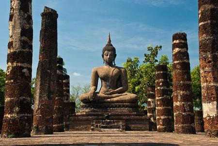 Ancient Buddha images in Sukhothai Historical Park. Stock Photo