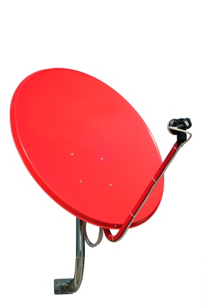 Red satellite on white background Stock Photo