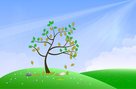Dominant tree standing on the green field on bright blue  Illustration