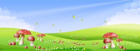 Green meadow with a beautiful mushroom color with a bright sky