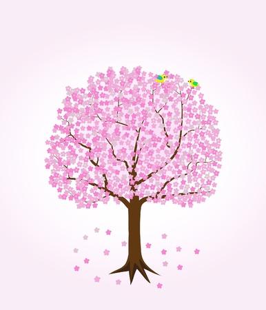 Cherry Tree with two birds. Stock Vector - 18182551