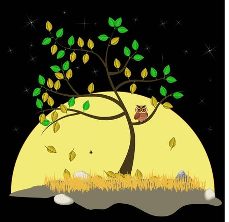 The tree stands alone among the moon and stars in the fall. Illustration