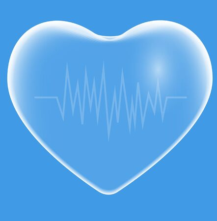 Transparent blue heart and electrocardiogram. Vector