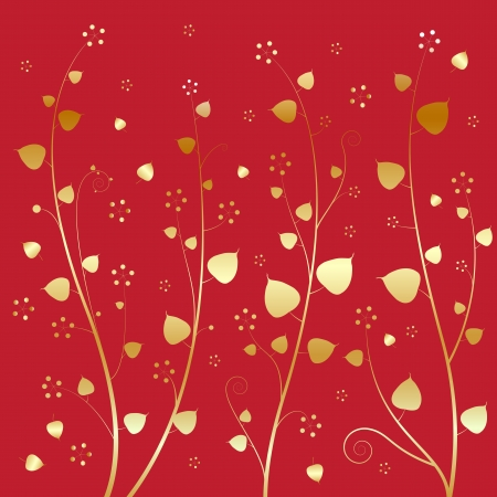 Bodhi leaves of gold. On a red background. Vector