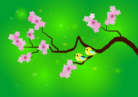 cherry blossom with birds Illustration