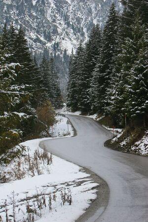 innbruck: road to ski resort in Alps mountain near innbruck Austria Stock Photo