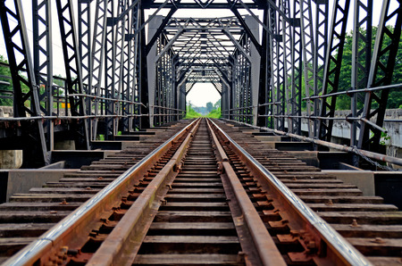 Railroad tracks thailand Stock Photo