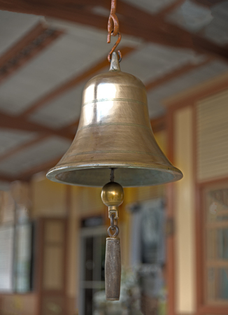 Bell in train station, Thailand. Its too old and vintage bell notuse Stock Photo