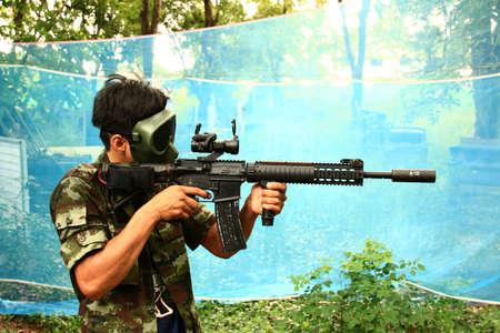 bb gun: air gun  military simulation Stock Photo