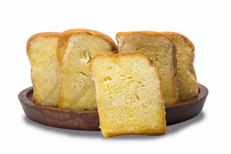 bread and butter: slice o bread butter on the wood place