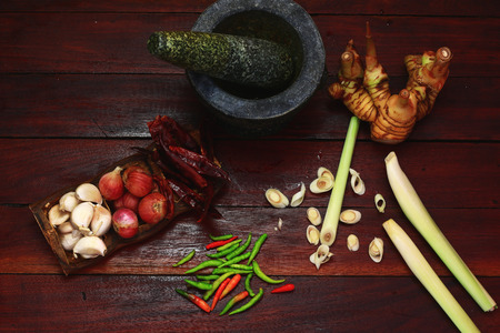 make a paste: many thai herbs for make curry paste before thai cooking