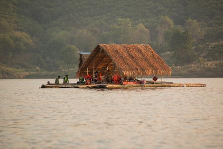 downstream: tourism float raft downstream on reservoir Stock Photo