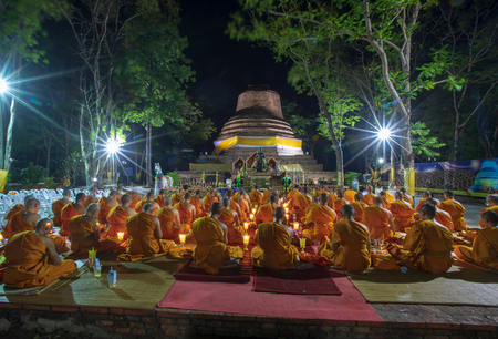 Phitsanulok Province, Thailand-2019 May, Many Buddhism sit down on big pagoda and Signal King Narasuan ,They are pray and concentration in Vesak day, and international day