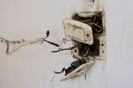 The accident from electric plug is burn and spark off block plastic on the wall, and be on fire