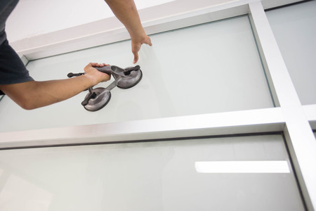 Install glass with suction cup for installation Stock fotó