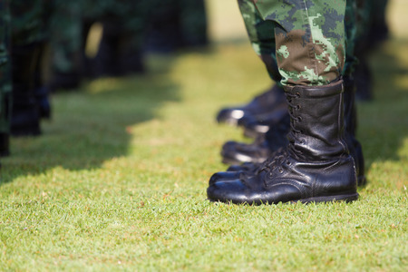 Military shoes Stock Photo