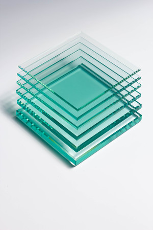 Glass Factory produces a variety of transparent glass thicknesses. Stock Photo