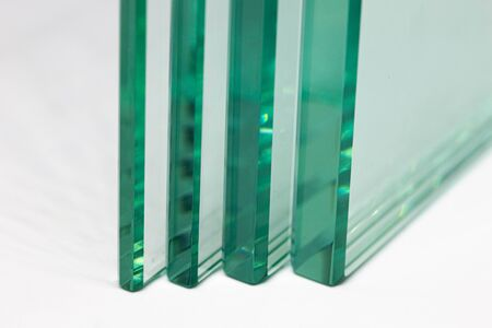 Glass from the factory  used for buildings and homes 스톡 콘텐츠