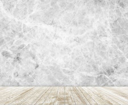 gray pattern: Backdrop  marble stone wall and wood slabs arranged in perspective texture background. Stock Photo