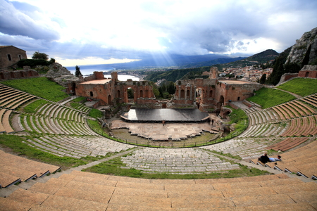 Greek Theater, Taormina Stock Photo