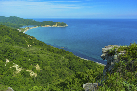 Summer landscape. Sea cove and green mountains, view from above, view of the bay. Jungle and the sea. Reklamní fotografie