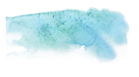 Abstract watercolor turquoise color splash. Hand drawing on white background. Reklamní fotografie